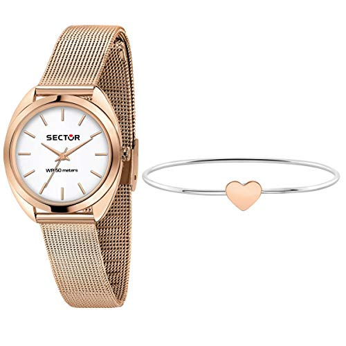 Sector No Limits Orologio da donna, Collezione 955, in acciaio, pvd oro rosa e bracciale - R3253518515