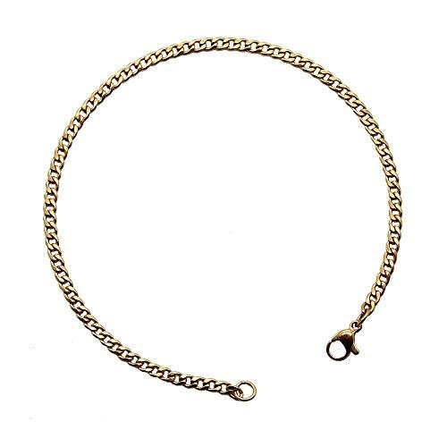 tumundo 1 Fußkettchen Fuß-Kette Knöchel Fuß-Schmuck Silbern Golden Schwarz Edelstahl-Kette 22cm 24cm Damen Figaro-Kette Armband, Modell:Modell 2 - Gold - 24cm -