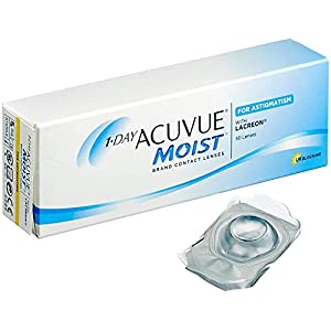 Acuvue 1-Day Moist for Astigmatism Tageslinsen weich, 30 Stück / BC 8.5 mm / DIA 14.5 / CYL -0.75 / Achse 120 / -6.50 Dioptrien