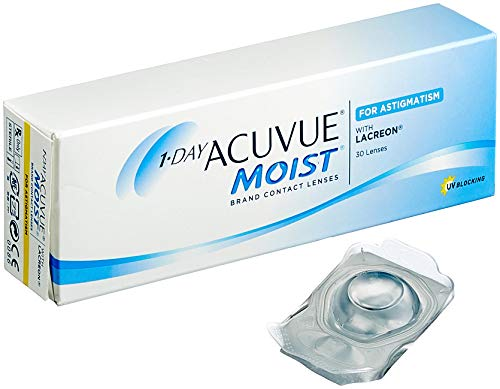 Acuvue 1-Day Moist for Astigmatism Tageslinsen weich, 30 Stück / BC 8.5 mm / DIA 14.5 / CYL -0.75 / Achse 180 / -3.75 Dioptrien