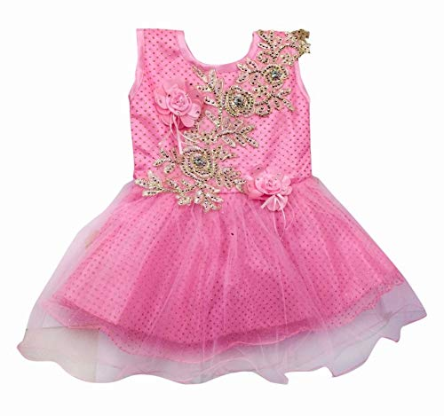 Adorable Baby Girl Party wear Pink Coloured Sequined with Flower Motives Sleevless net Frock Size 16 for 1-1 Year 6 Months