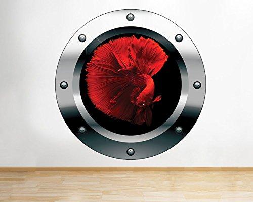 tekkdesigns G317-Fische rot Fan Schwanz Unterwasser Fenster Wand Aufkleber 3D Kunst Aufkleber Vinyl Raum