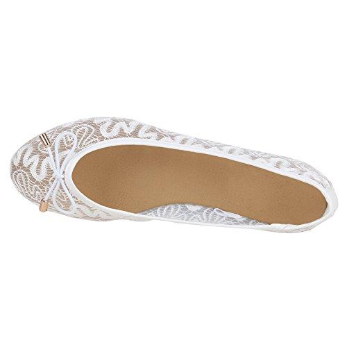 Stiefelparadies Klassische Damen Ballerinas Slippers Flats Übergrößen Flache Schuhe Metallic Spitze Glitzer Abendschuhe Flandell Weiss Schleifen