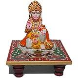 Handicrafted Marble Hanuman with Makrana Marble Chowki for Diwali Gift/Pooja
