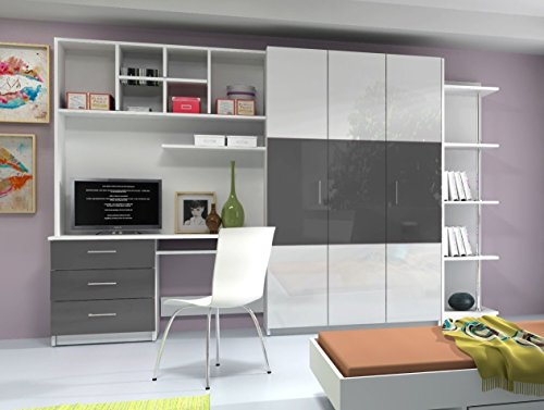 41E4KHwJc%2BL - BEST BUY #1 AALTO 3 WALL UNIT, OFFICE AT HOME, BEDROOM FURNITURE, HIGH GLOSS FRONTS, 4 COLOURS AVAILABLE (High Gloss White Fronts with Grey Details) Reviews and price compare uk