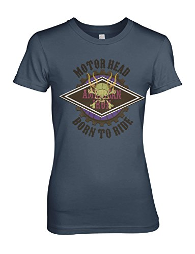 Motor Head Born To Ride Biker Rider Motorcycle Damen T-Shirt Blau