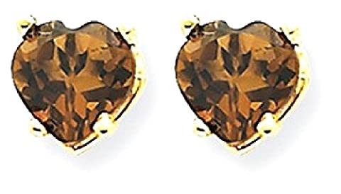 IceCarats 14k Yellow Gold 5mm Heart Smoky Quartz Earrings