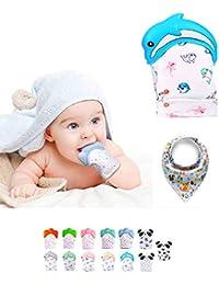 Funky Planet Baby dentición Manoplas, Protege Manos Bebés, Pain Relief Tranquilizadora de Edad + BUFANDAS