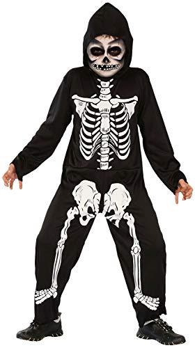 Kinder Kostüm Gruselig - Magicoo Skelett Kostüm Kinder Jungen schwarz-weiß - gruseliges Halloween Kostüm Jungen Gr. 92-152 (92/104)