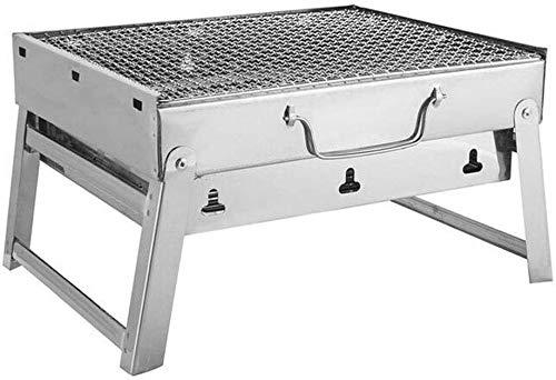 AGWa Tragbare Picknick Kohlegrill Grill- und Silber im Freien Edelstahl Folding Wandern Charcoal Camping Bbq