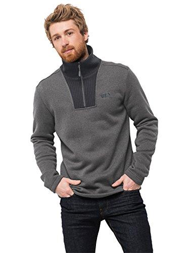 Jack Wolfskin Herren Pullover Scandic Half Zip Fleece Sweater, Herren, Tarmac Grey, X-Large Cotton Half Zip Sweatshirt