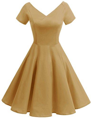 age 1950er V-Ausschnitt Rockabilly Kleid PartyKleid Retro CocktailKleid Ginger L (1950er Jahre Kostüme)