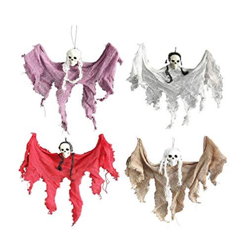 Amosfun 4 Stück Halloween hängende Geisterstütze beängstigend Dekor Behänge Halloween Party Dekoration Spukhaus Party Stütze