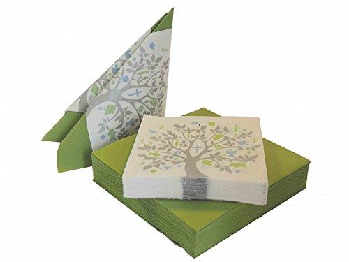 SET: 20+20 Servietten Baum des Lebens Grün Blau Grau Tischdeko Feier Konfirmation Kommunion Taufe