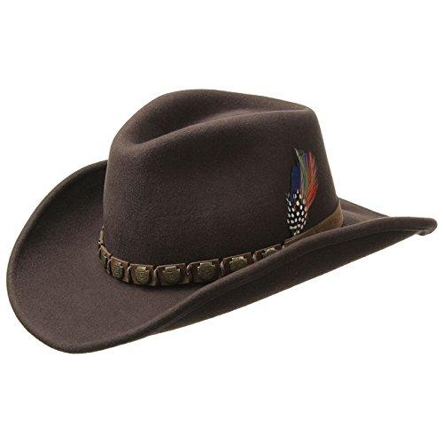 Stetson Chapeau Hackberry Western Homme - en Laine de Cowboy Feutre avec Bandeau Cuir Printemps-ete
