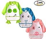 3er Pack Lange Ärmel Wasserdicht Baby lätzchen, Baby lätzchen mit Ärmeln, 3 Stück Unisex Kunst Handwerk Malerei Schürze, niedlichen Frosch Schwein Elefant Muster für 0-3 Jahre alt Kinder Kleinkinder, ungiftig einfach Baby Lätzchen zu waschen