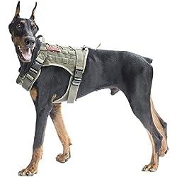 OneTigris Arneses Tipo Chaleco de Perro Impermeable de Nailon 1000D Con Molle Para Marcha Senderismo Caza Adiestramiento Táctico