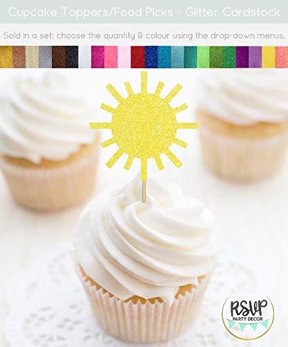 Ethelt5IV Sun Cupcake Toppers Sie sind Mein Sonnenschein Cupcake Toppers Sonnenschein Party Dekor Sun Food Picks Sommer Motto Party Dekorationen Pool Party (Mein Sind Sonnenschein-party Sie)