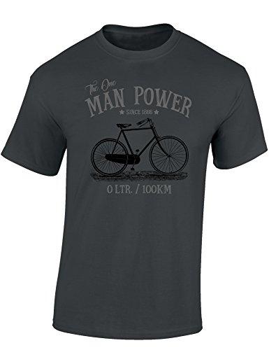 Baddery: The One Man Power - Fahrrad T-Shirt als Geschenk für alle Fahrradliebhaber - Geschenkidee (L) Dunkelgrau