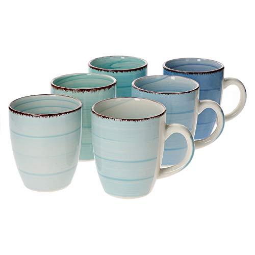 Tee-becher-set (MamboCat 6-TLG. Kaffeebecherset Blue Baita Blautöne 350 ml Porzellan-Tassen rund Trink-Becher für Heiß-Getränke Tee-Pott abstraktes Strudel-Dekor Geschirr)