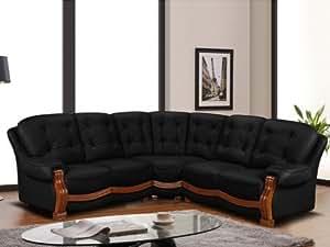 Canapé d'angle en simili SILVIO - Noir