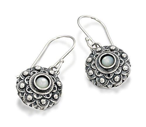 Estilo antiguo madre de perla flor pendientes colgantes en plata de le