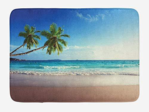 ARTOPB Seashore Bath Mat, Splashing Waves on Sandy Beach Coconut Palm Trees Scenic Island View, Plush Bathroom Decor Mat with Non Slip Backing, 23.6 W X 15.7 W Inches, Blue Green Pale Brown