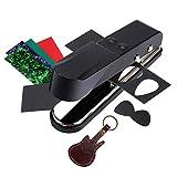 Asmuse Gitarre Plektrum Guitar Picks Punch Cutter Stanzmaschine DIY Stanzer Tool mit Leder Plektrenhalter Kostenlos Zelluloid und Gitarre Plektron Schmirgelpapier