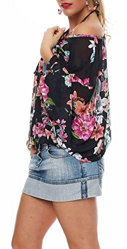 Malito Damen Bluse in Vielen Farben und Formen   Oberteile mit Verschiedenen Mustern �?Shirts 7213 Schwarz