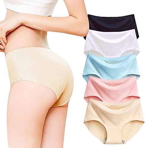 Bragas Pantalones de Mujer sin Costuras Señoras Ropa Interior Secret Hug Sexy Low Rise Calzoncillos de Encaje Bikini Bragas (XL: 38/40 (Contorno de Cintura: 68-74 cm), 5 Piezas)