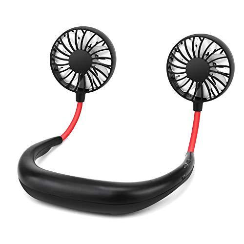 CENXINY Tragbare Ventilator für Outdoor, USB Fan Handsfree USB Ventilator, Lüfter für Wandern, Klettern, Sommer Outdoor Sport, 3 Stufen, Verbesserte Version mit LED Licht