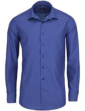 ETERNA Modern Fit Hemd extra kurzer Arm Struktur dunkelblau AL 59