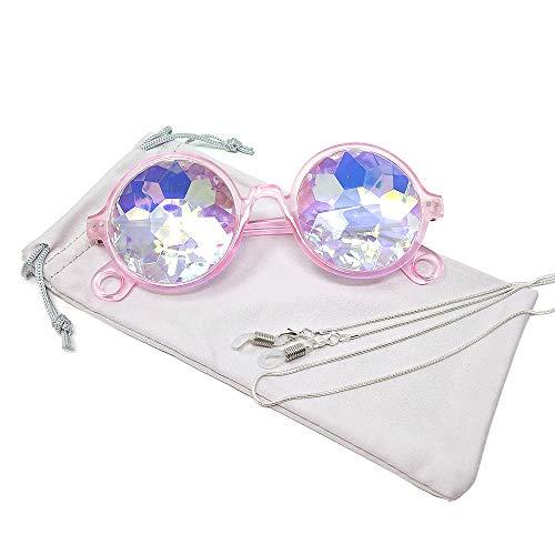 TERAISE Kaleidoskop Gläser Regenbogen Prisma Sonnenbrille Für Frauen Männer Beste Rave Party Beugung Glas Kristall Linsen(Pink)