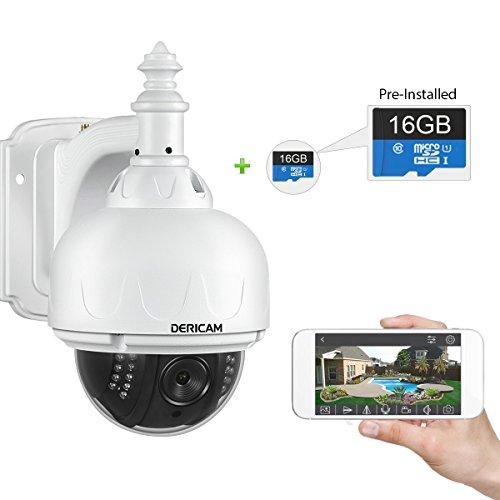 Dericam Wlan IP Kamera, Überwachungskamera Außenbereich, Pan und Tilt Kamera, mit 16GB Speicherkarte (vorinstalliert), S1E-16G,Farbe weiß (Kein optischer Zoom)