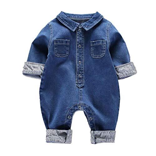 Araus salopette jeans jumpsuit a manica corta da neonato bimba pantaloni tute outfit estive, 0-12 mesi