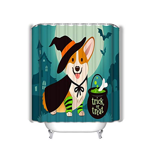 Bathroom Shower Curtain Set with Hooks - Spa, Hotel Luxury, Water Repellent 60x72 INCH Halloween Cute Smiling Welsh Corgi Dog Witch costu