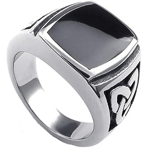 Uomo Acciaio inox nero CZ Vintage Celtic Knot Signet Incisione di AieniD - Ametista Celtic Knot
