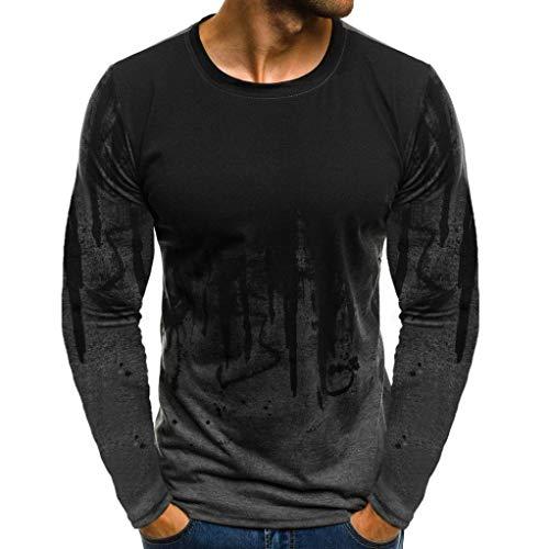 Herren Longsleeve Langarmshirt Shirt Basic Bluse Tops Herren Basic Longsleeve O-Neck T-Shirt Sweatshirt Langarm Shirt LianMengMVP (Grau, M)