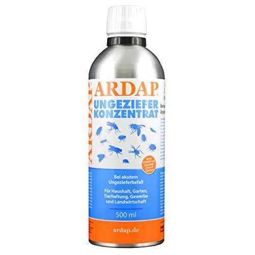 ARDAP Ungeziefer Konzentrat 500ml - zur Herstellung von bis zu 50L Ungezieferspray, gegen Fliegen, Stechfliegen, Motten, Mücken, Wespen, Silberfische, Bettwanzen etc. -