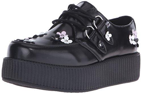 T.U.K. Shoes Women's Black Leather Daisy Viva Creeper Black