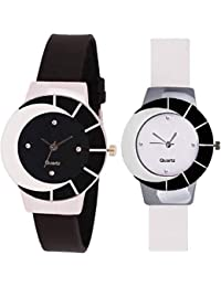 Royal India Overseas Latest Collection Of Fashionable Watches Set Of 2 - For Girls & Women(Black,White)