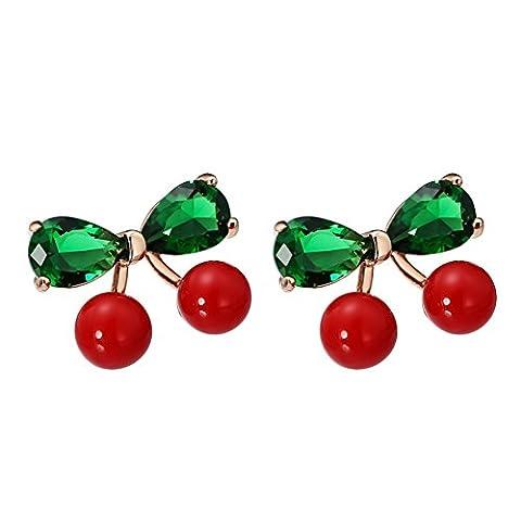 tempérament de boucles d'oreilles fashion/ douce bijoux/Rouge cerise mignon Stud boucles d'oreilles-A