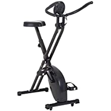Homcom Bicicleta Estática Plegable Bicicleta Magnética Xbike con Resistencia Ajustable Pulsómetro Pantalla LCD Sillín ...