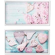 Dcasa - Pack 2 cuadro romántico de lienzo con marco para dormitorio de 60x30 .