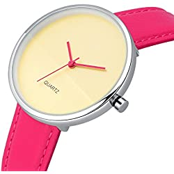 AIBI Women's Waterproof Off-White Dial Analogue Quartz Pink Strap Watch