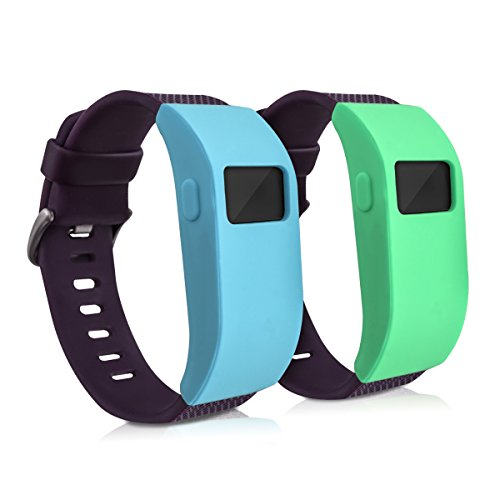 kwmobile 2in1 Set: 2x Sport Armband Schutzhülle für Fitbit Charge / Charge HR ohne Tracker in Mintgrün Türkis