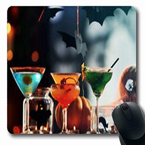 Luancrop Mousepads Glass Close View Cocktails Halloween Essen Trinken Feiertage Feiern Oblong Gaming Mouse Pad rutschfeste Gummimatte