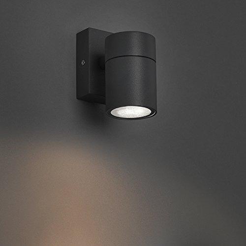 QAZQA Moderne Applique Murale Solo gris foncé Acier inoxydable Anthracite Rond GU10 Max. 1 x 35 Watt/Éclairage dessus dessous/Extérieur / Jardin/Luminaire / Lumiere
