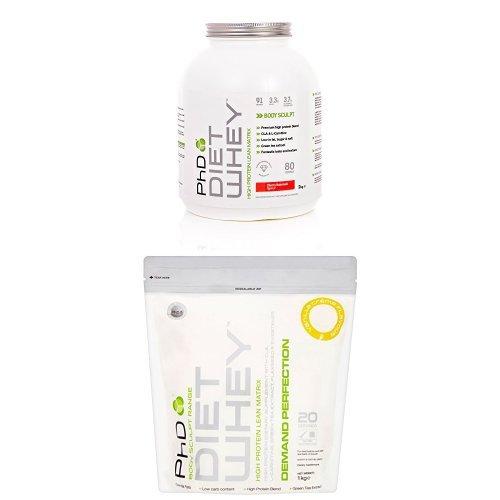 PhD Nutrition Diet Whey Protein Powder – 2 kg, Cherry Bakewell with PhD Diet Whey 1kg Vanilla Creme