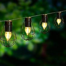 Lumi Jardin Guirnalda Jaula de Metal luz Blanca Solar Keny Solar 10 Leds 200 cm,